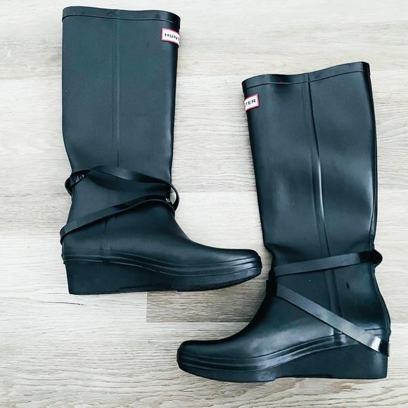 Hunter Black Wedge Andora Rain Boots 8